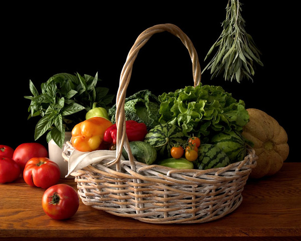 Still Life with Vegetable Basket and Tomatoes