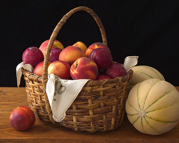 StillLife with Fruit Basket and Melons