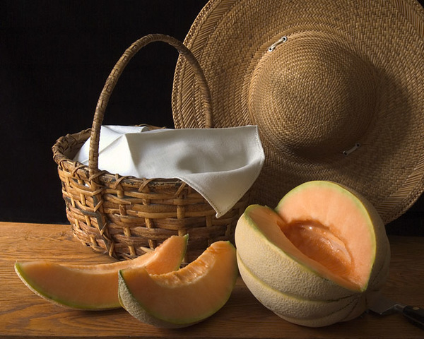 Still Life with Melon and Straw Hat