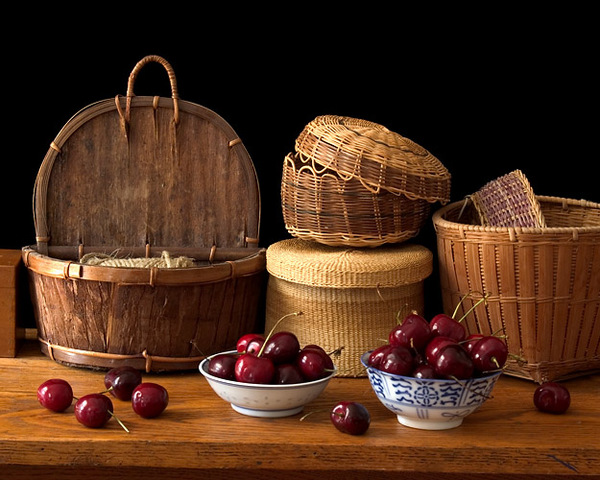 Still Life with Cherries and Baskets