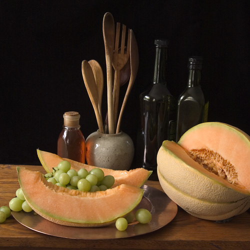 Still Life with Melon Wedges and Grapes